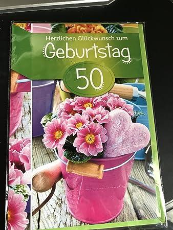 Geburtstagskarte Zum 50 Geburtstag Mit Rosa Blumen Amazon De