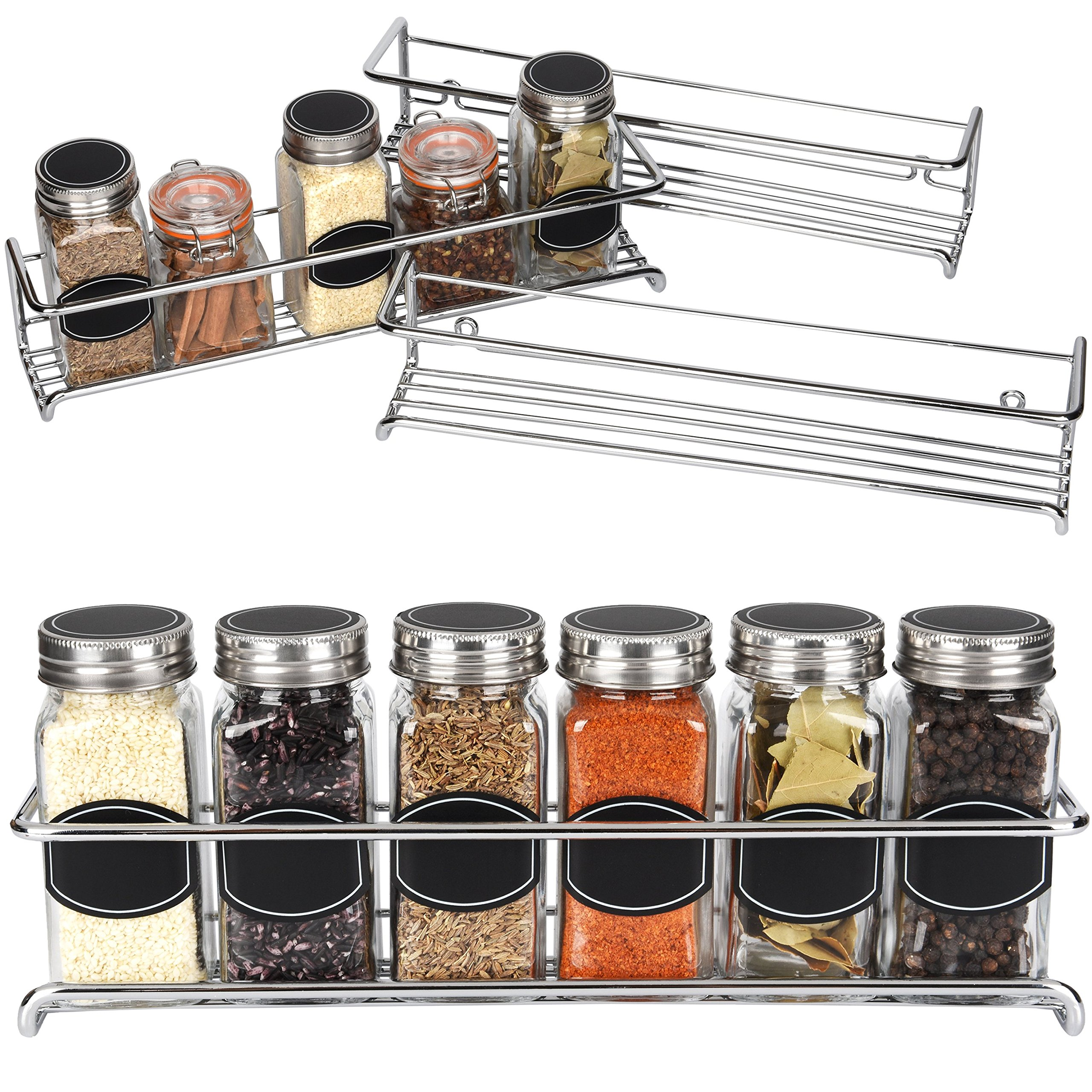 Spice Rack Organizer - Cabinet, Door, or Wall Mounted - Set of 4 Chrome Tiered Hanging Shelf - Holds 24 Spice Jars - Storage in Cupboard, Kitchen or Pantry - Display bottles on shelves, in cabinets