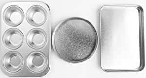 Easy Oven Bake Cake Pan Set Includes Cupcake Pan Rectangular Pan and Round Pan
