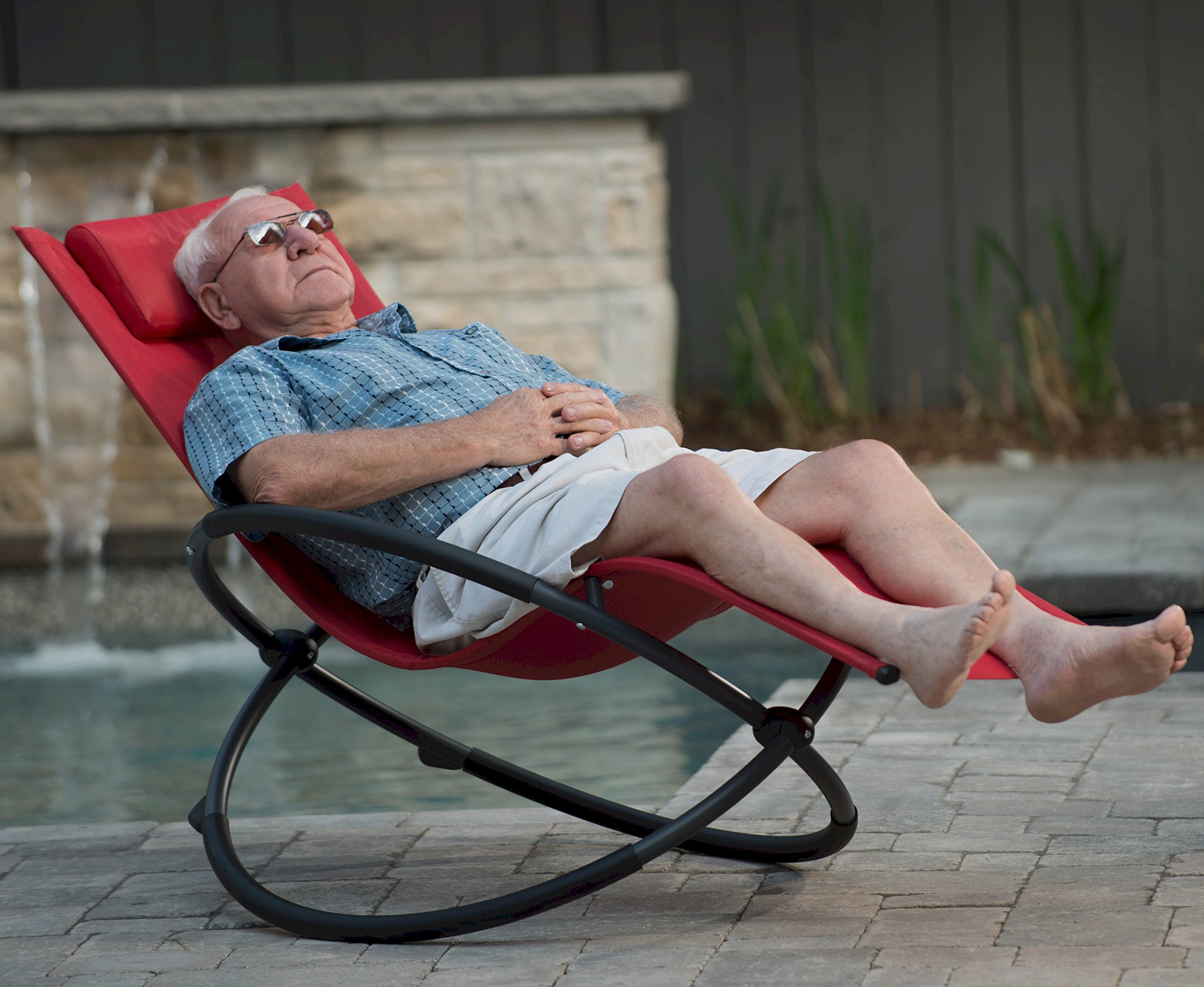 Vivere ORBL1-CR Orbital Lounger, Cherry Red - Ergonomically designed to drastically increase your R&R time Full recline makes sleeping in your bed lose its appeal Acrylic mesh seat that easily shakes off the water - patio-furniture, patio-chairs, patio - 91ROsKFTXnL -