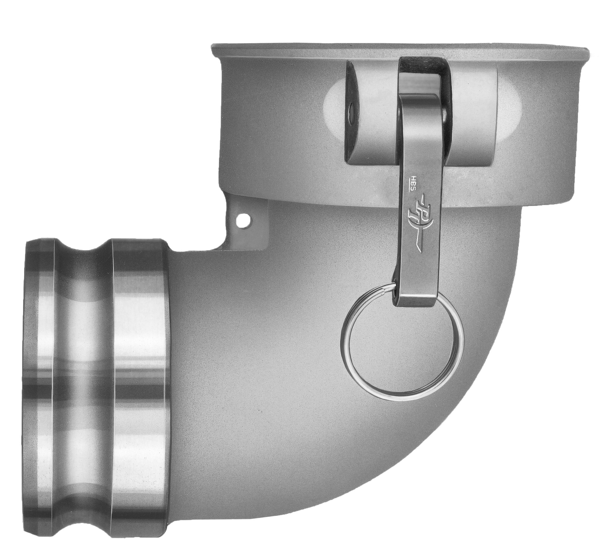 PT Coupling CAL Series 40CAL Aluminum Cam and Groove Hose Fitting, 90 Degree Elbow, Stainless Steel 300 (HBS) Cam Arms, 4'' Coupler x Adapter