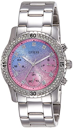 Reloj Guess Reloj de Pulsera para Mujer W0774L1 Reloj Pulsera de cronógrafo Acero Inoxidable Plateado - Dial Light Blue Pink Glitter
