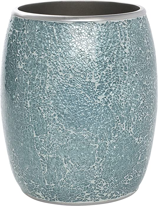 Zenna Home India Ink Number 9 Floral Waste Basket, Aqua