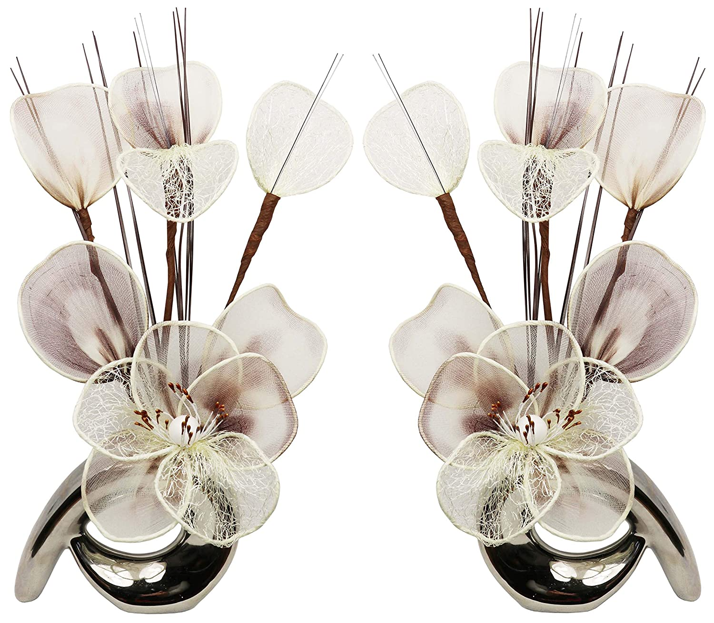 Flourish 792244 32 cm Assorties Lot de Mini Motif fleurs artificielles dans Vase Noir et Blanc