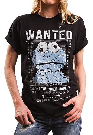 5b1b729a1ce1 Lustiges Damen Oversize Shirt mit Aufdruck - Wanted - locker und lässig  geschnitten Cookie Monster schwarz
