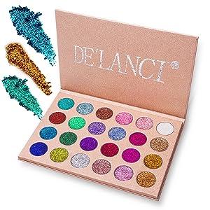 De 'Lanci Glitter Polvo Paleta de Maquillaje Profesional – Eyeshadow Paleta de Larga Duración: Shimmer Face Makeup Kit (24 Colores)