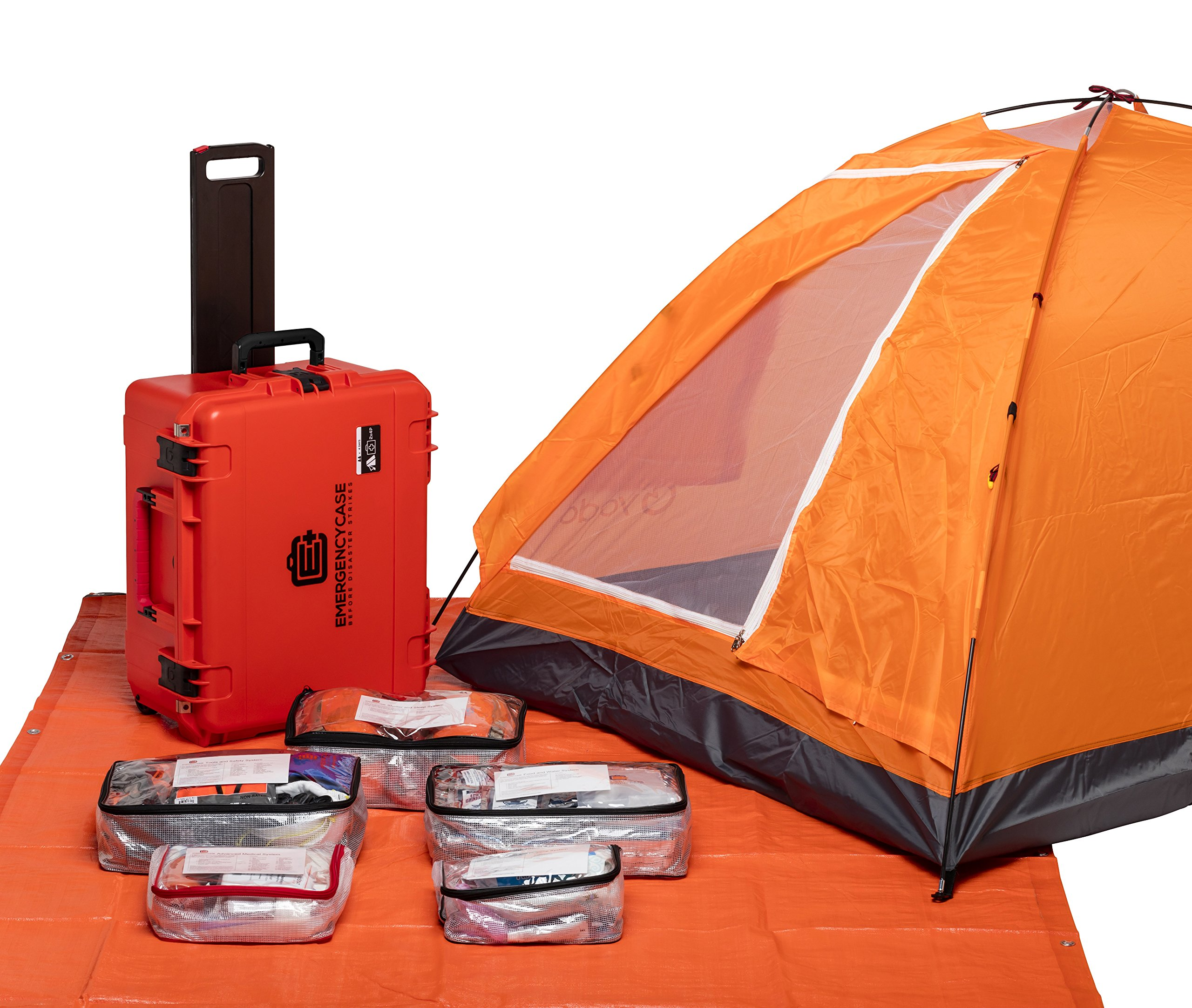 Emergency Case - Premium Family Survival Kit - 2 Person 4 Days for Earthquakes, Hurricanes, Floods, Tornadoes, Wildfires by E C Emergency Case Before Disaster Strikes