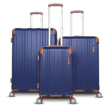 Gabbiano Bravo Collection 3 Piece Hardside Spinner Luggage Set (Blue)
