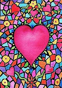 Toland Home Garden Kaleidoscope Heart 12.5 x 18 Inch Decorative Colorful Valentine Mosaic Garden Flag