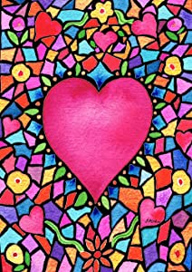 Toland Home Garden Kaleidoscope Heart 28 x 40 Inch Decorative Colorful Valentine Mosaic House Flag