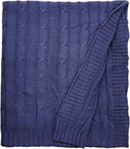 Rizzy Home Cable Knit Throw, Navy