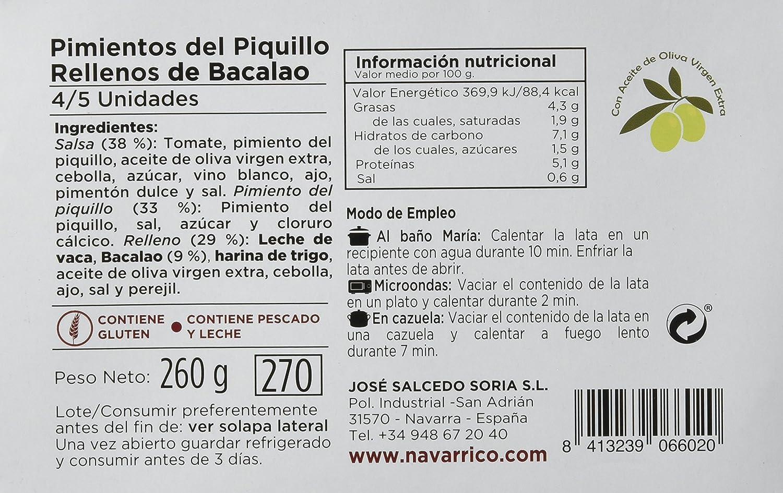 El Navarrico Pimientos Rellenos de Bacalao - Paquete de 3 x 260 gr - Total: 780 gr: Amazon.es: Alimentación y bebidas