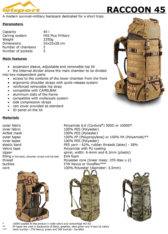 Camping 85 litres Cordura MOLLE WiSPORT/® RACCOON 85 Sac /à dos Randonn/ée Militaire P/êche Outdoor