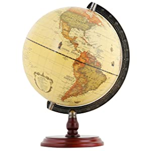 "Exerz Antique Globe 10"" / 25 cm Diameter with A Wood Base, Vintage Decorative Political Desktop World - Rotating Full Earth Geography Educational - for Kids, Adults, School, Home, Office (Dia 10-inch)"