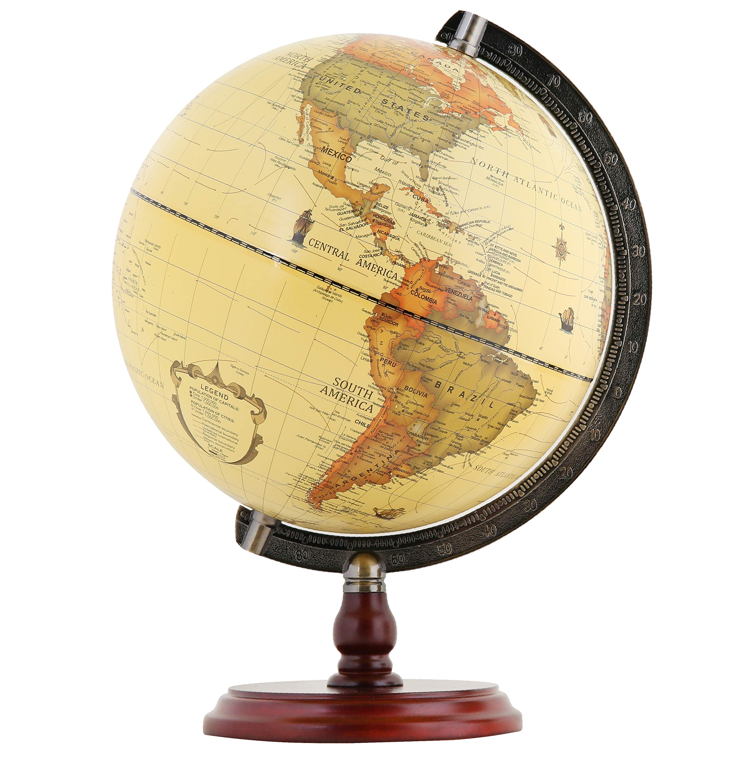 Exerz Antique Globe 10'' / 25 cm Diameter with A Wood Base, Vintage Decorative Political Desktop World - Rotating Full Earth Geography Educational - for Kids, Adults, School, Home, Office (Dia 10-inch)