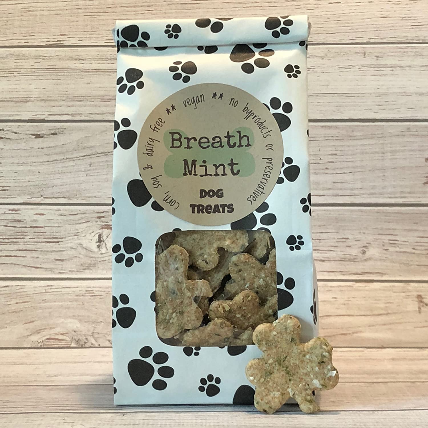 5 oz Breath Mint Dog Treats/Handmade/Corn Soy and Dairy Free/Egg Free/Vegan/No Added Preservatives, Fillers or Color