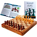 "StonKraft Collectible Folding Wooden Chess Game Board Set with Magnetic Crafted Pieces, 12"" X 12"""