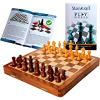 """StonKraft 12""""x 12"""" Collectible Foldable Wooden Chess Game Board Set with Magnetic Crafted Premium Wood Pieces (12 Inch X…"""
