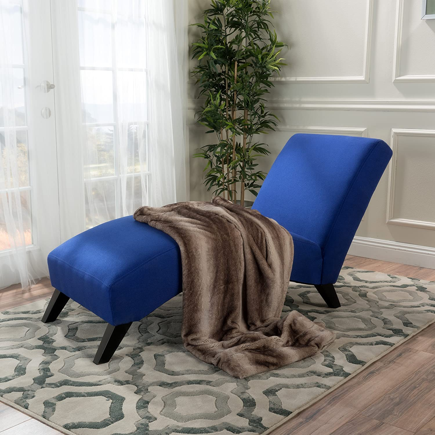 Swanson Royal Blue Fabric Chaise Lounge GDF Studio