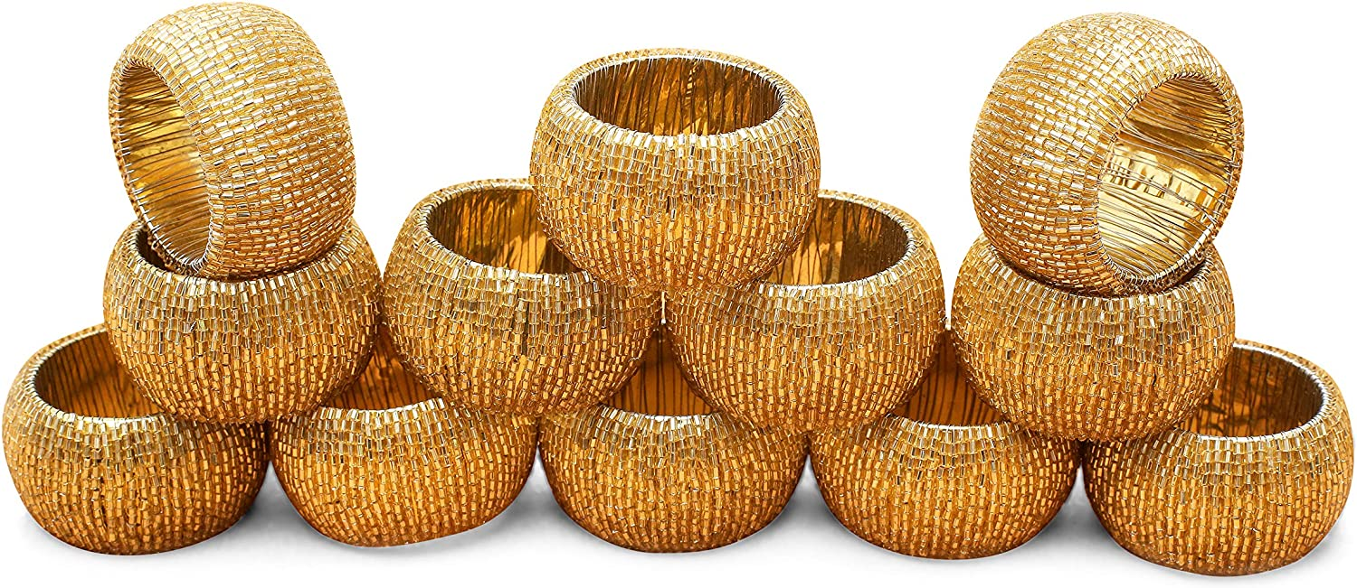 Alpha Living Home Napkin Rings Set of 12, Beaded Napkin Holders, Round Napkin Rings Bulk for Party Decoration, Dinning Table, Everyday, Family Gatherings - A Great Tabletop Décor - Gold