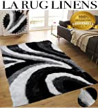 Fluffy Furry Soft Modern Contemporary Thick plush Shag Shaggy Living Room Bedroom Rug Carpet 8x10 Feet Large Black Charcoal Gray Grey Silver Off White ( Signature New 70 )