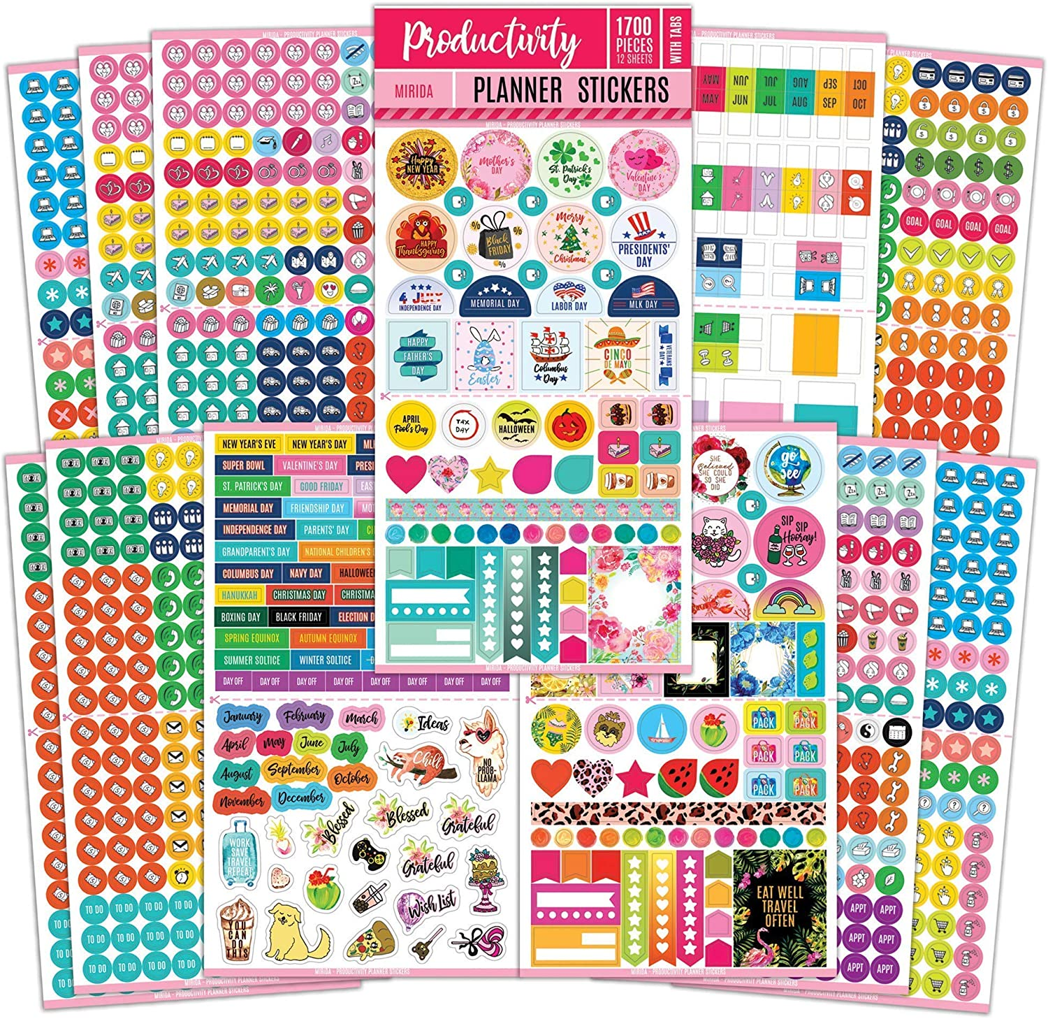 Mirida Planner Stickers – 1700 Productivity Mini Icons for Adults Calendar – Work, Daily to Do, Budget, Family, Holidays, Journaling – Variety Pack with Monthly Tabs