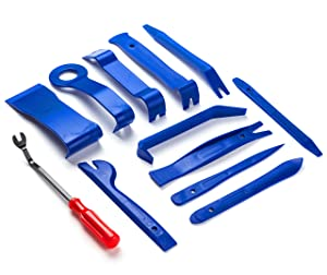 ALLDREI 12 Pcs Auto Trim Removal Tool Kit | Auto Door Panel Removal/Premium Car Trim Upholstery/Pry Tool | Strong Plastic/Leaves No Scratches | Blue/Handy Storage Wallet