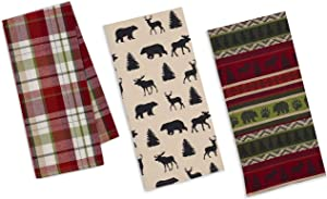 3 Cabin Lodge Themed Decorative Cotton Kitchen Towels Set | 2 Towels with Bear, Moose, Deer, Pine Trees, Paw Print and 1 Plaid Towel for Dish and Hand Drying