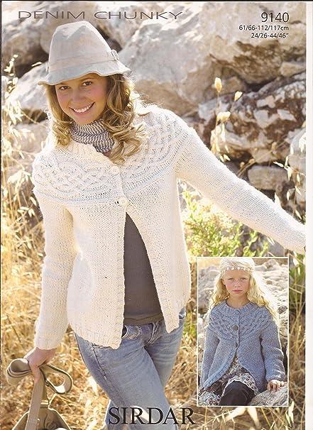 Amazon Sirdar Denim Chunky Knitting Pattern 9140 Cable Yoked