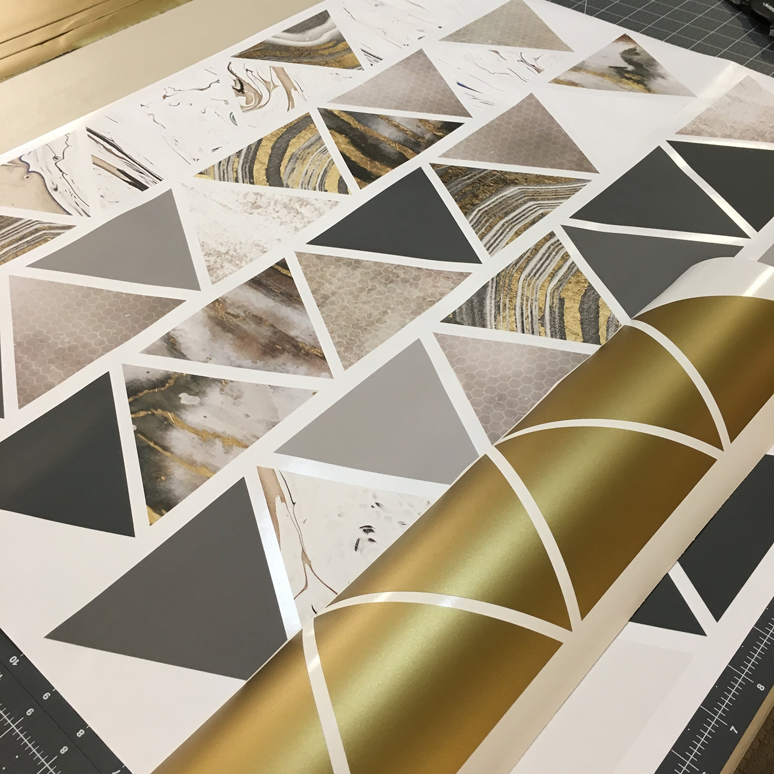 Modern Art Wall Decals, Gold, Gray, Marble, Triangles, Geometric Decals, Repositionable, Fabric Wall Decals Plus 6 Bonus Metallic Gold Triangle Vinyl Decals by Wall Dressed Up (Image #5)