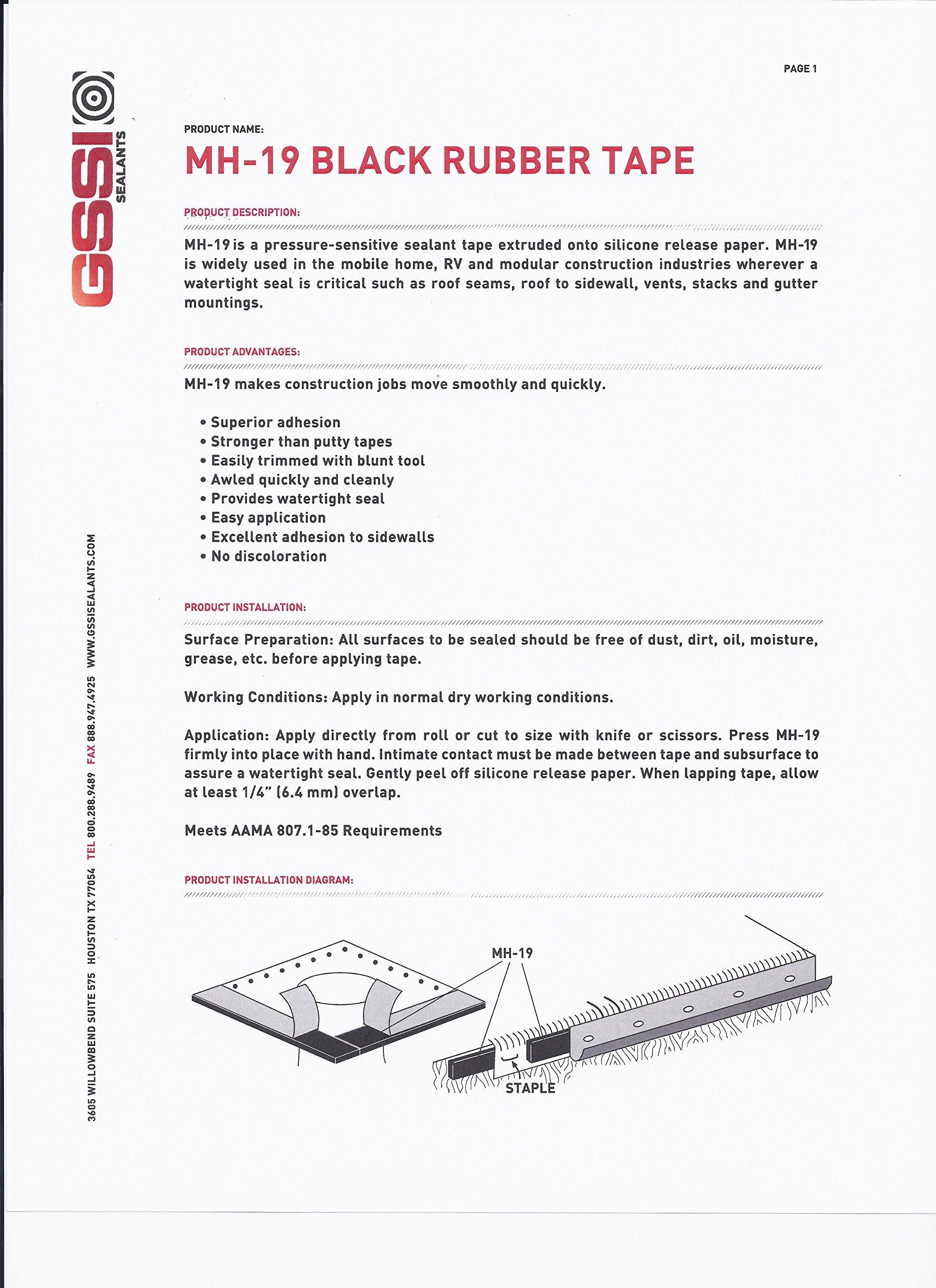 GSSI Sealants Butyl Tape 1/8'' x 1'' x 100' (2 Rolls at 50') Black by GSSI Sealants (Image #2)