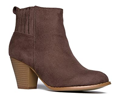 High Heel Suede Ankle Boot - Slip On Stacked Heel Bootie - Comfortable Walking Shoe - Keni by