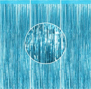3PCS Foil Curtain Light Blue Metallic Tinsel Foil Fringe Curtains- 3.2 ft x 8.2 ft Light Blue Metallic Fringe for Baby Shower Party Decorations, Frozen Birthday Decor, Frozen Party Decor, Frozen Backdrop, Metalic Curtain for Party