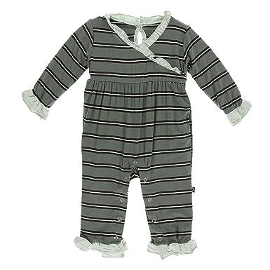 d866bcbb94f0 Kickee Pants Little Girls Print Long Sleeve Kimono Ruffle Romper -  Succulent Kenya Stripe