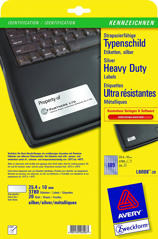 Avery Italia L6103-20 Etichette in Poliestere Giallo, 48 Etichette per Foglio, Diametro 45.7 X 21.2, 20 Fogli, 45,7x21,2, Giallo