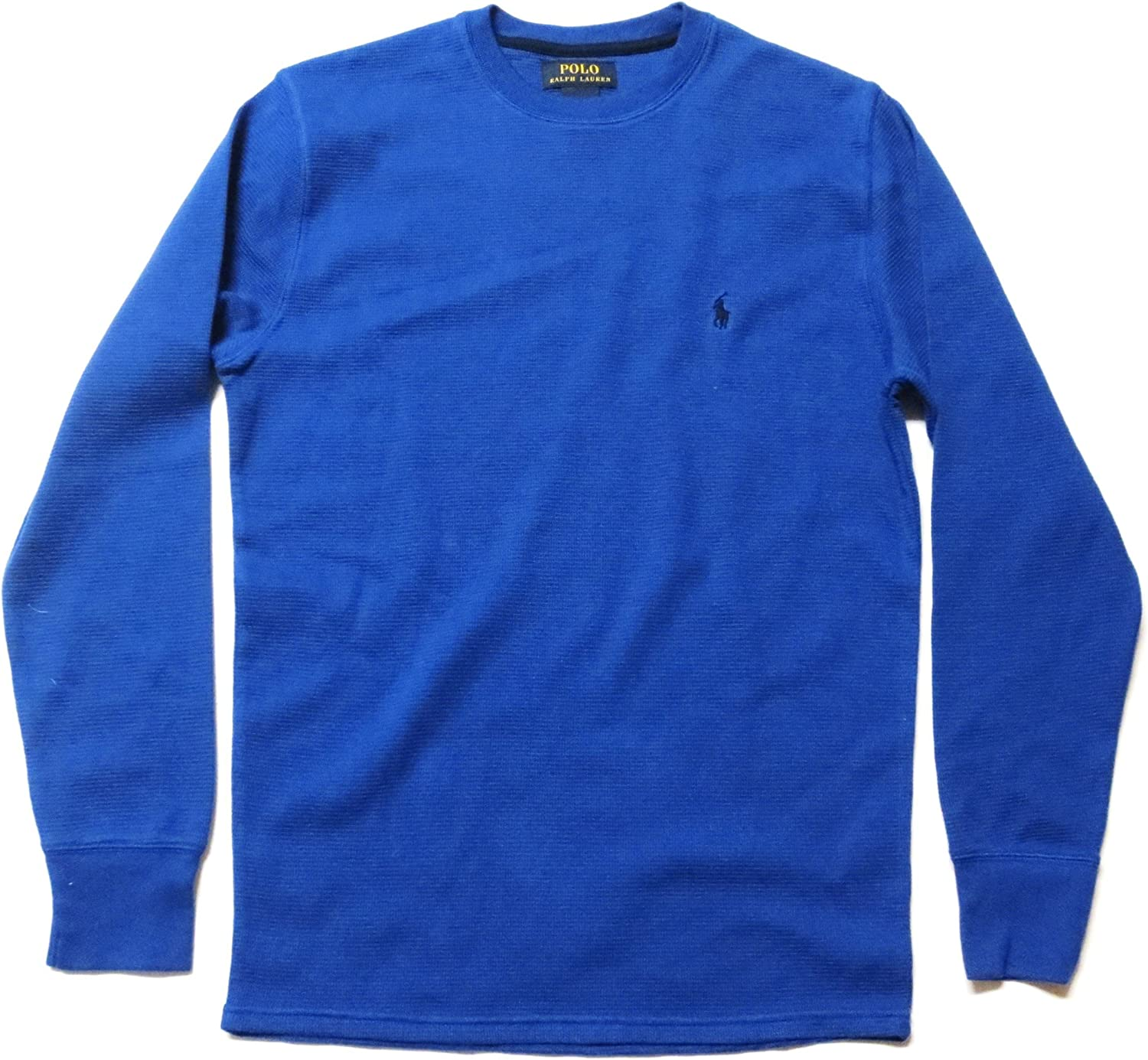 Ralph Lauren Polo Men's Crew Neck Long-Sleeved Waffle Knit T-Shirt Thermal - Small, Royal Blue