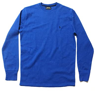 14db790a20 Polo Ralph Lauren Men's Crew Neck Long-sleeved Waffle Knit T-shirt Thermal  - Small, Royal Blue | Amazon.com