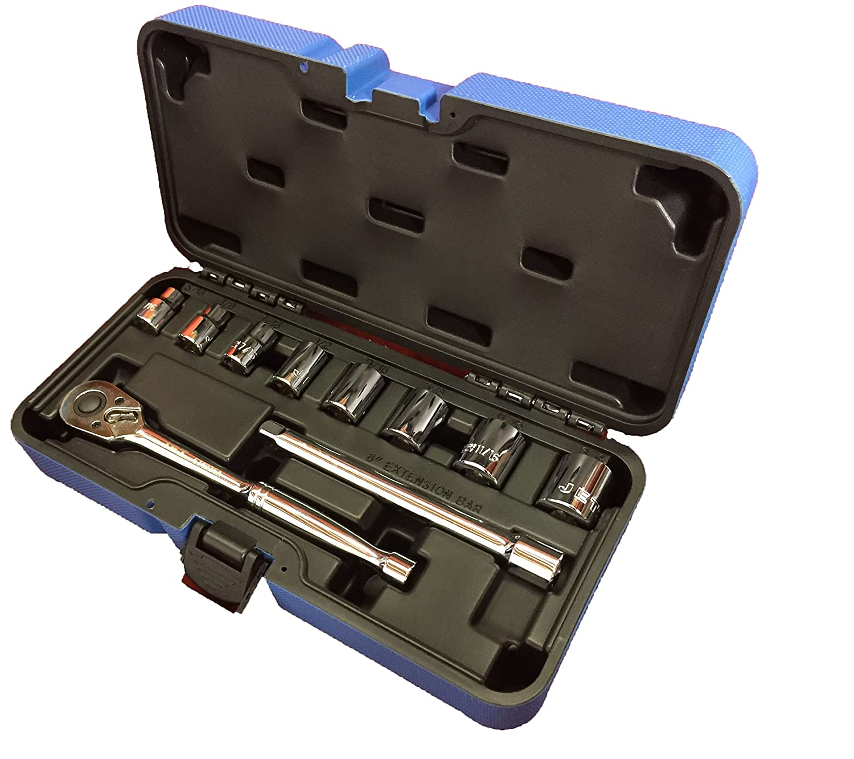 Jet 11-Piece 3/8-inch Drive SAE, 6 Point, Ratchet Wrench Chrome Socket Set, 600223