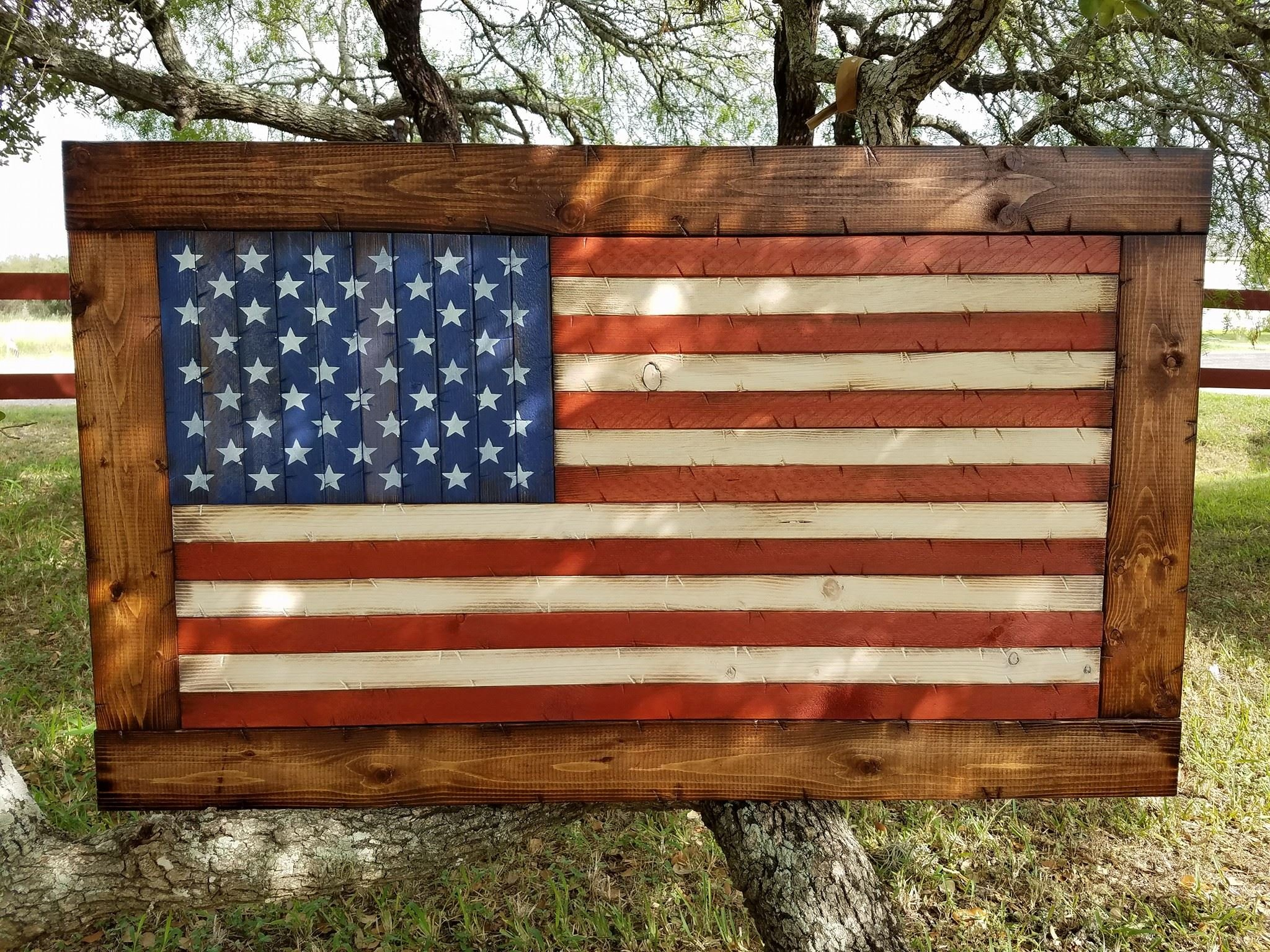 Rustic Wooden American Flag with Chestnut frame (26''x44'') by Cowboy Capital Rustic Signs