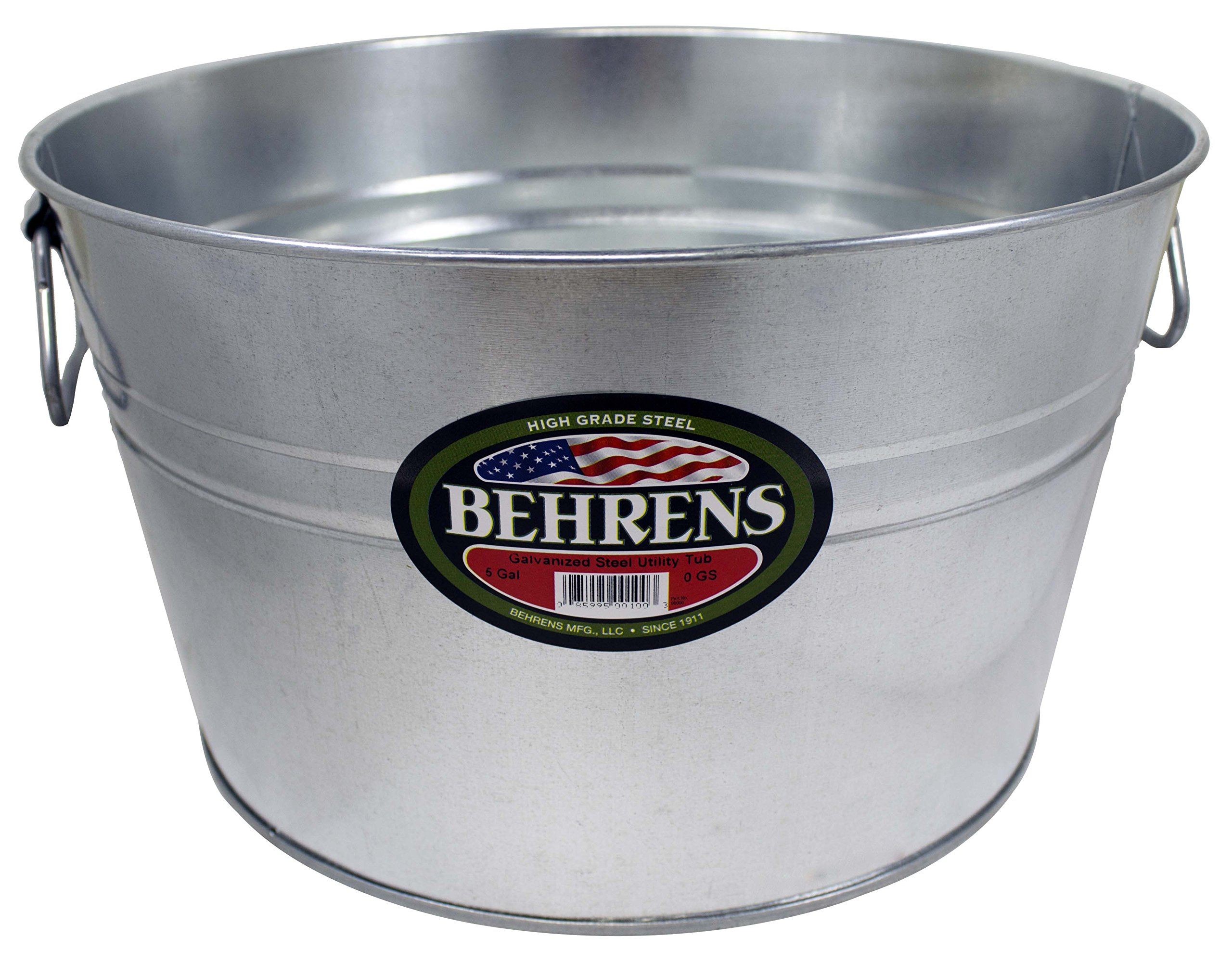 Behrens 0GS Galvanized Steel Round Tub, 5 gallon