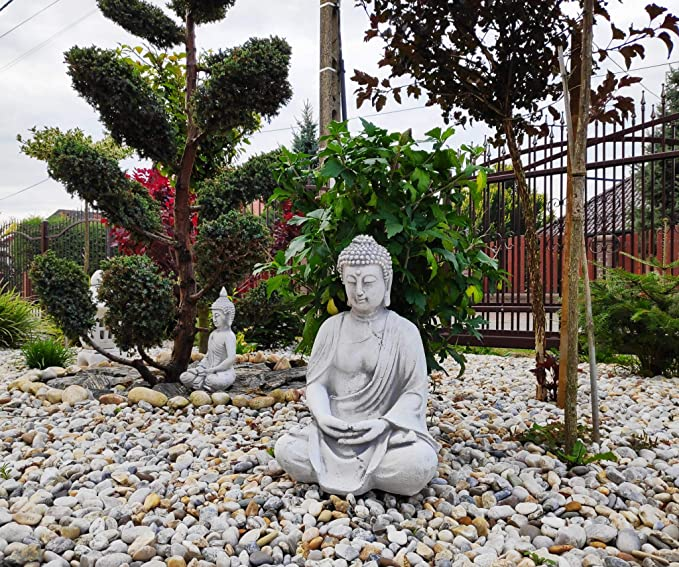 Figura de adorno de jardín de piedra estatua de Buda meditando - Seat Shakyamuni: Amazon.es: Jardín