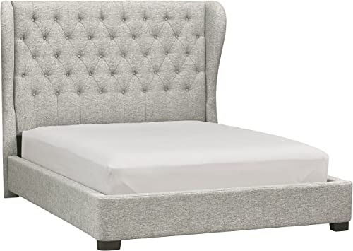 Stone Beam Bordeaux Tufted Low Wingback Queen Bed with Headboard, 71 W, Grey