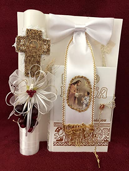 Amazon.com : First Holy Communion Wooden Cross Candle Set ...