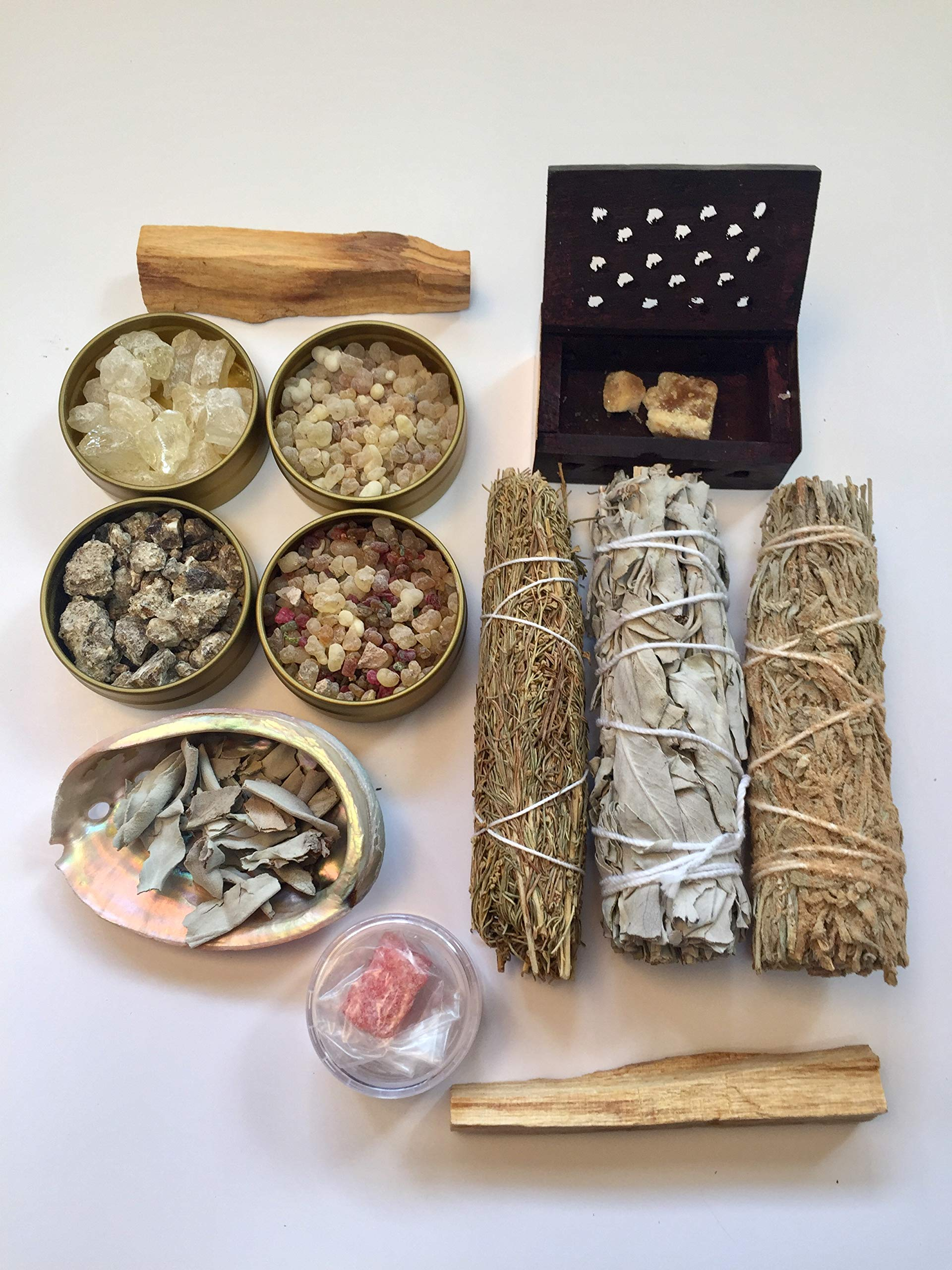Resin Incense and Sage Smudges Variety Gift Kit includes, Amber Resin, Rose Resin, White Copal, Mystical Benzoin, Frankincense, White Sage Smudge, Desert Sage, Palo Santo Sticks and Abalone Shell by Sacred Scents For You (Image #7)