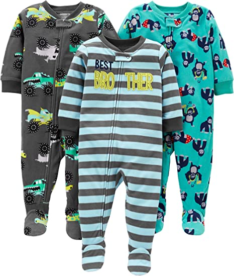 Simple Joys by Carters Baby Boys 3-Pack Loose Fit Flame Resistant Fleece Footed Pajamas Pack of 3