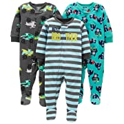 Simple Joys by Carter's Boys' 3-Pack Loose Fit Flame Resistant Fleece Footed Pajamas, Brother/Trucks/Gorillas 12 Months