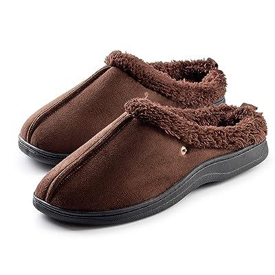 Roxoni Men's Slippers Cozy Memory Foam Warm Winter House Slipper Anti-Skid Rubber Sole | Slippers