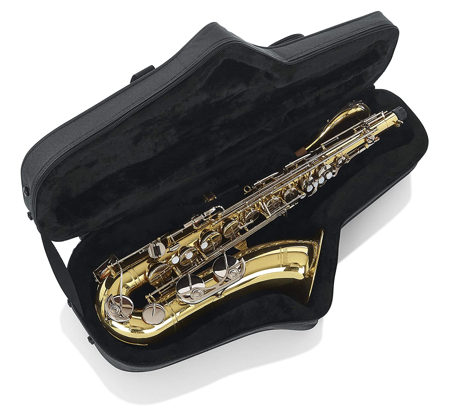 GL-TENORSAX-A Gator Cases Lightweight Polyfoam Tenor Saxophone Case with Removable Strap and Rubber Interlocking Carry Handle;
