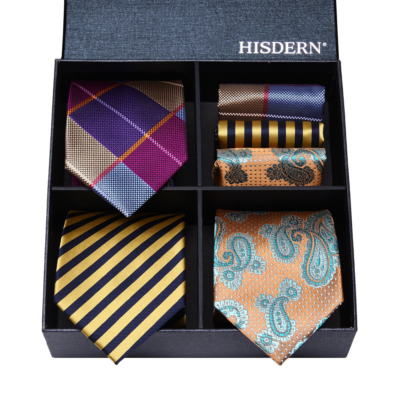 HISDERN Lot 3 PCS Classic Mens Silk Tie Set Necktie /& Pocket Square Multiple Sets TA3006