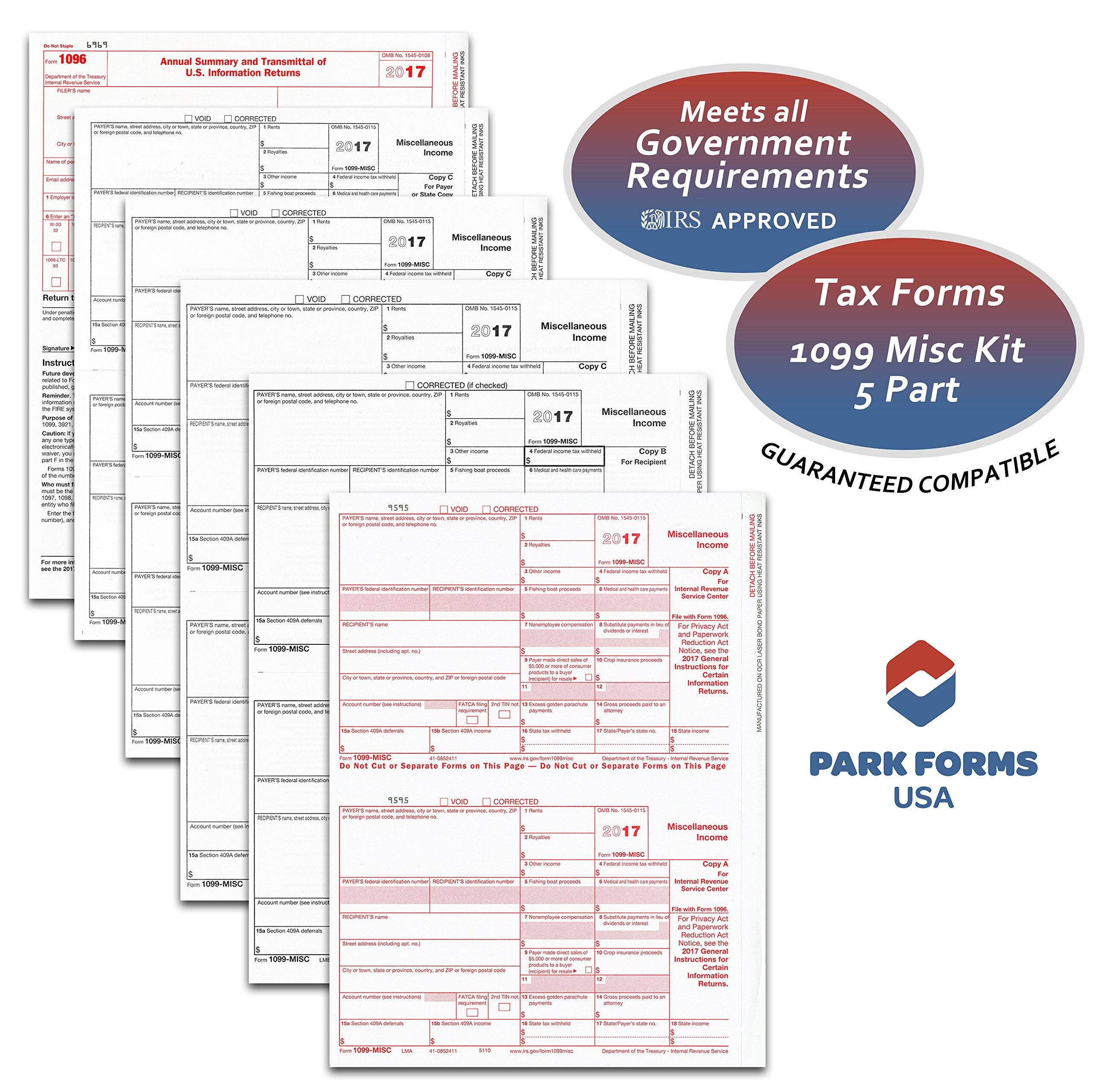 2018  Laser Tax Forms - 1099-MISC (5-Part Set) Income for 25 Vendors - Park Forms